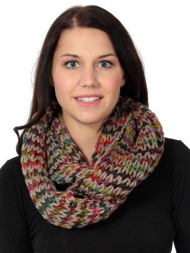Women'S Infinity Wrap Around Scarf In Lush Knit Pattern, Khaki
