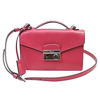 Amazon.com: PRADA Women\u0026#39;s Saffiano Leather Clutch Bag W/Strap Pink ...