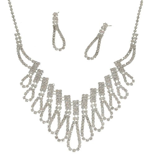 Ri23 Sparkly Crystal Diamante Wedding Bridal Necklace And Earrings Jewellery Set *** Before Purchase, Please Check Measurements In Product Description