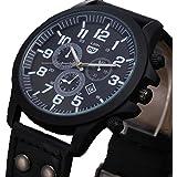 DEESEE TM Mens Wristwatch Vintage Classic Mens Waterproof Date Leather Strap Sport Quartz Army Watch