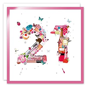 21st Birthday Greeting Card - Make Up Collection by Rea