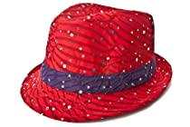 Red Sparkle Fedora with Purple Band / Red Hat Ladies