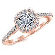 1.01 Carat Gorgeous Classic Cushion Halo Style Diamond Engagement Ring 14K Rose Gold with a 0.63 Carat I-J I2 Round Brilliant Cut/Shape Center