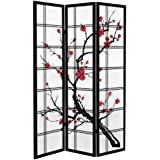 Oriental Furniture 6 ft. Tall Canvas Cherry Blossom Room Divider - Black - 3 Panels