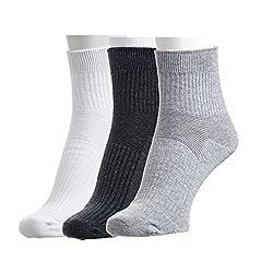 Hans Men's Striped Socks (Pack of 3) (white, dark grey and grey)