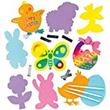 Childrens Craft Easter Coloured Scratch Art Magnet Decorations in Assorted Designs (Pack of 10)