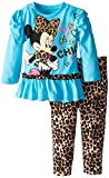 Disney Baby Baby-Girls Infant Disney's Minnie Infant Legging Set with Peplum Style Top, Blue, 12 Months