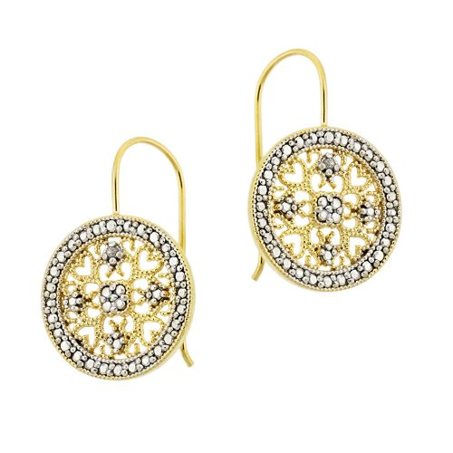 18k Yellow Gold Plated Sterling Silver Diamond-Accent Medallion Earrings