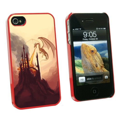 Graphics And More Dragon Flying Fire Breathing - Castle Fantasy - Snap On Hard Protective Case For Apple Iphone 4 4S - Red - Carrying Case - Non-Retail Packaging - Red
