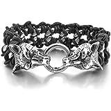 Men's Stainless Steel Genuine Leather Bracelet Link Silver Black Wolf Braided Gothic Biker