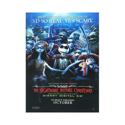 NIGHTMARE BEFORE CHRISTMAS 3D REPRINT 27X41 POSTER