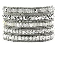Chan Luu Grey Mix Wrap Bracelet on Iceberg Leather