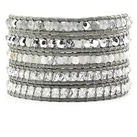 Chan Luu Grey Mix Wrap Bracelet on Iceberg Leather