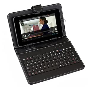 "SUMVISION UNIVERSAL BLACK KEYBOARD LEATHER CASE FOR 7"" TABLETS PC WITH MICRO USB CONNECTION"