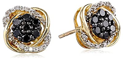 10k Yellow Gold Black and White Diamond Earrings (3/8 cttw)