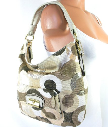 Coach Kristin Op Art Sequin Graphic Shoulder Hobo Bag Tote 14860 Khaki