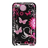 Premium Design Hard Crystal Case Cover for Apple iPod Touch 4G, 4th Generation, 4th Gen - Pink Butterfly Print