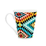 HomeSoGood Colorful Square Structures White Ceramic Latte Coffee Mug- 355 ml
