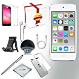 Apple ipod touch 6th generation Music player 128GB - SILVER w iTouch Accessory Kit includes; Bluetooth Speaker w Clear Case & Screen Protector w ipod 5-Angle Adjustable Stand w iPod Stylus Pen w Cloth (Color: Silver, Tamaño: 128 GB)