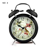 "4"" Silent Quartz Analog Twin Bell Alarm Clock with Nightlight and Loud Alarm (NO4)"