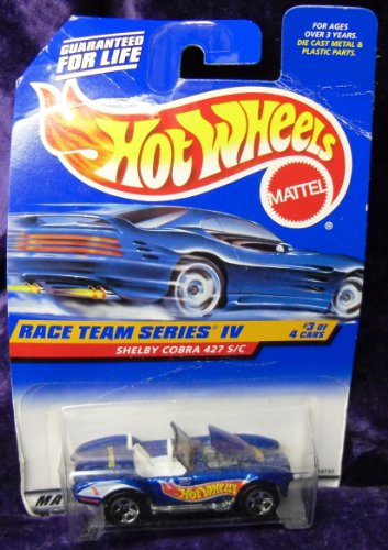 Mattel Hot Wheels 1998 1:64 Scale Race team Series IV Blue Shelby Cobra 427 S/C Die Cast Car 3/4 - 1