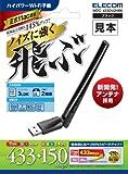 ELECOM 無線LAN 子機 ハイパワーアンテナ 11ac/n/a/g/b 433/150Mbps USB2.0 WDC-433DU2HBK