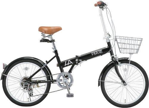 HIATE(ハイエイト) 20インチシマノ6段変速折りたたみ自転車[カゴ/LEDライト/コイルワイヤー錠/前後フェンダー標準装備] ブラック HI-206