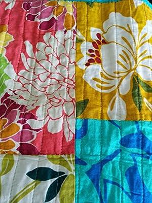 Tache 100% Cotton 3 PC Colorful Flower Power Party Patchwork Quilt Set