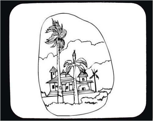 "Buy Mouse Pad with ""black and white"", ""palm trees"", temple, Asia, building, landscape, scenery, Thailand, house"