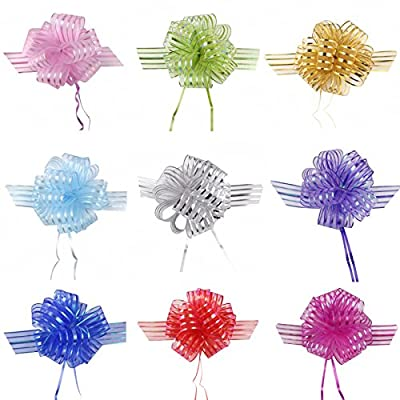 Pull Bow Organza Striped Ribbons with Long Tulle Tails Wedding Party Bridal Giftwrap Wrapping Bows ,Gift Bows, Christmas Bows, Assorted colors (Set of 10)