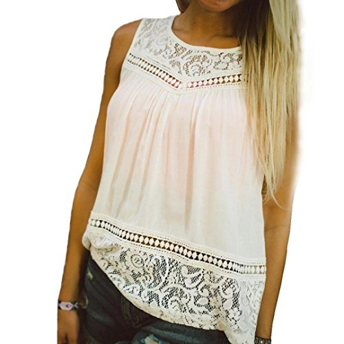 Lisingtool Women's Summer Lace Splice Vest Top Sleeveless Blouse Tank Tops