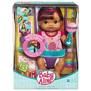 Amazon Com Baby Alive Wets And Wiggles Brunette Toys
