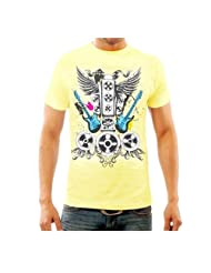 Funktees Men's Round Neck Cotton T-Shirt Yellow Large