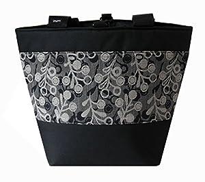 Jayna Bags Women's Large Multipurpose Berries Edge Tote Charcoal-Gray Silver Black