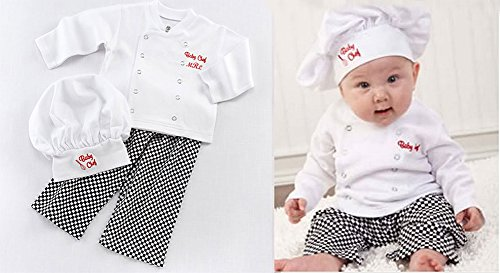 Baby Boy Girl Cook Chef Photo Props Costume Top, Pants and Hat 3-piece Clothes Outfit Set (18-24 Months)