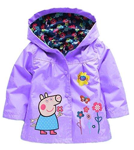 Cartoon Peppa Pig Flower Baby Girls Kids Rain Coat Jacket Coat Hoodie Outwear 4-5T Purple (5t Girls Rain Jacket compare prices)