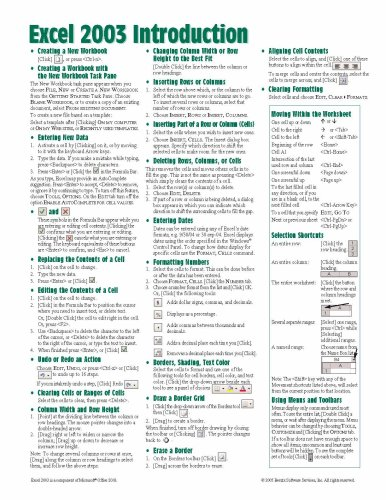 Microsoft Excel 2003 Introduction Quick Reference Guide (Cheat Sheet of Instructions, Tips & Shortcuts - Laminated C