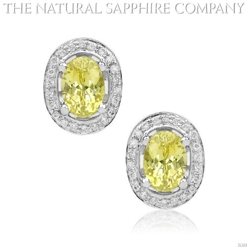 2.28Ct. Natural Untreated Yellow Sapphire Earrings With Pave 44 Set Diamonds 0.18Ct. (J1503)