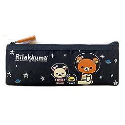 San-x Space Rilakkuma Canvas Pencil Case School Supply Stationary Pouch (BLACK)