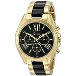 Geneva Women's GV/1000BKBK Multi-Function Dial Gold-Tone and Black Bracelet Watch
