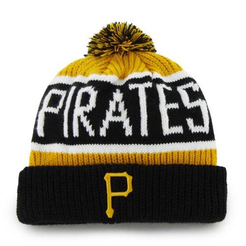 "Pittsburgh Pirates Black Cuff ""Calgary"" Beanie Hat with Pom - MLB Cuffed Winter Knit Toque Cap"