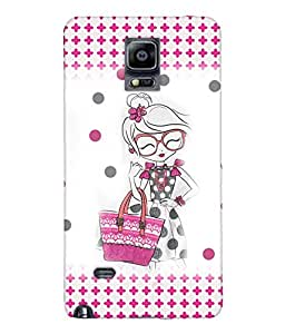 Fuson Shopping Girl Back Case Cover for SAMSUNG GALAXY NOTE 4 - D3927