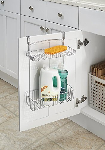 mDesign Over the Cabinet Kitchen Storage Organizer Basket for Aluminum Foil, Sponges, Cleaning Supplies - 2-Tier, Chrome (Kitchen Cabinets With Sink compare prices)