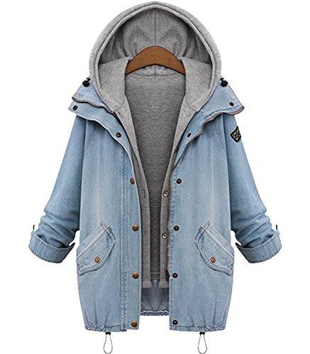 Minetom Donna Hoodie Cappotto Con Cappuccio Giacca Denim Giacche Jeans Cappotti Capispalla Parka Blu IT 42