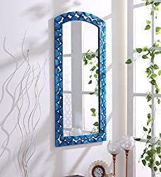 999Store wooden hand crafted handmade painted Decorative Wall Mirror blue Wall Mirror