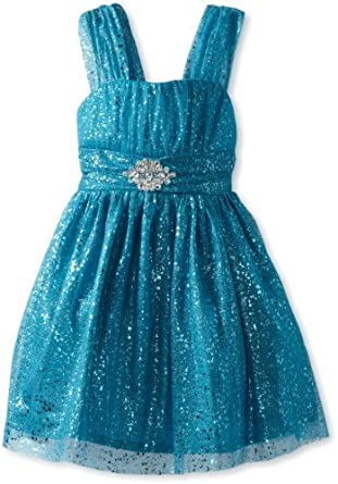 Amy Byer Big Girls' Tank Dress with Allover Sparkle, Blue, 12