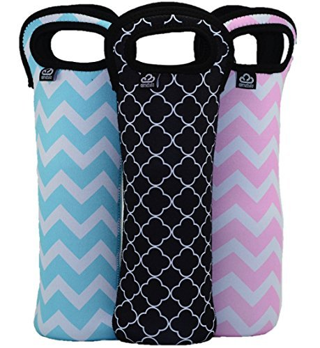 insulated-wine-water-bottle-totes-15-inch-chevron-quatrefoil-design-by-air-nebula-blue-pink-black-co