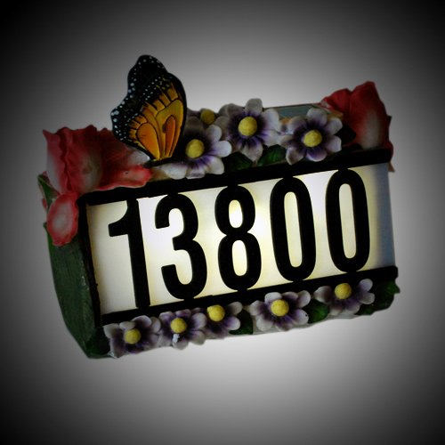 Solar Light Powered House Number With Butterfly And Flowers