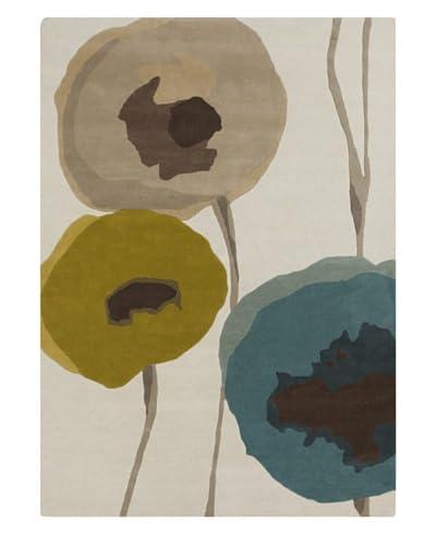 Surya Sanderson Rug, Taupe/Olive/Teal, 2' x 3'
