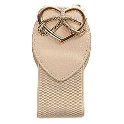 Heart Shape Ladies Buckle Belt Fashion Wide Stretch Girls Waistband - beige, 61cm*6cm